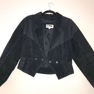 Vintage 80's CHIA  100% Leather Bomber Cowgirl Jacket Sz M